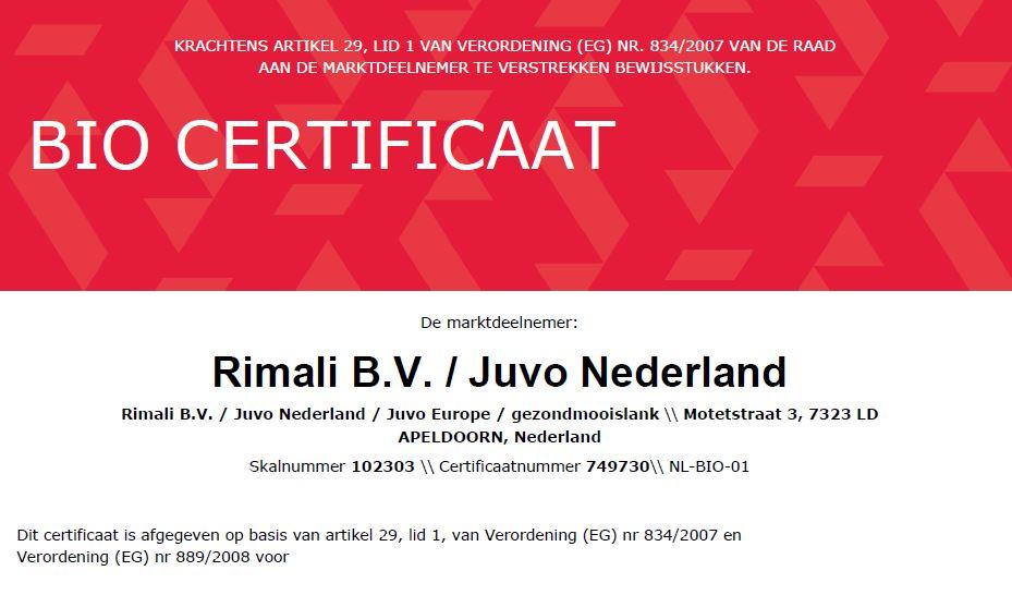 Juvo raw food certificaat BIO-NL-01